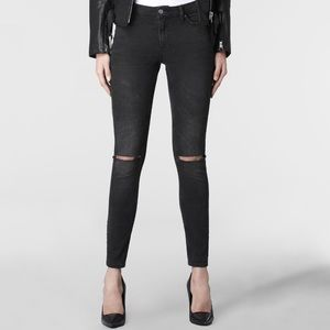 All Saints Black grey gray ripped Distressed Jeans